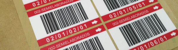 Etiquetas de policarbonato adhesivas con código de barras para señalización de almacenes