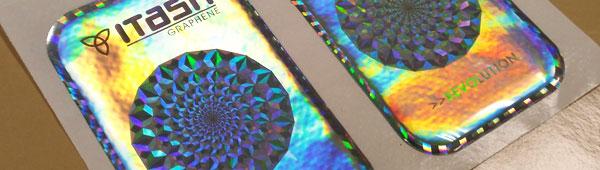 Etiquetas poliéster holográfico con resina de poliuretano efecto 3d